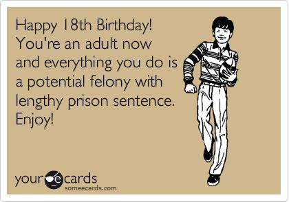 Happy 18th Birthday! You're An Adult Now And Everything You Do Is A Potential Felony With Lengthy Prison Sentence. Enjoy! | Birthday Ecard