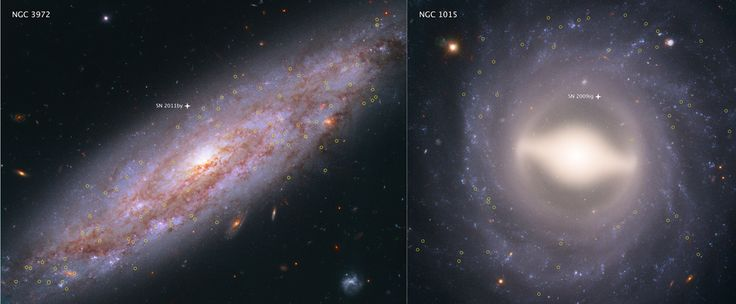 These Hubble Space Telescope images showcase two of the 19 galaxies analyzed in a project to improve the precision of the universe's expansion rate, a value known as the Hubble constant. The color-composite images show NGC 3972 (left) and NGC 1015 (right), located 65 million light-years and 118 million light-years, respectively, from Earth. The yellow circles in each galaxy represent the locations of pulsating stars called Cepheid variables. (Credits: NASA, ESA, A. Riess (STScI/JHU))