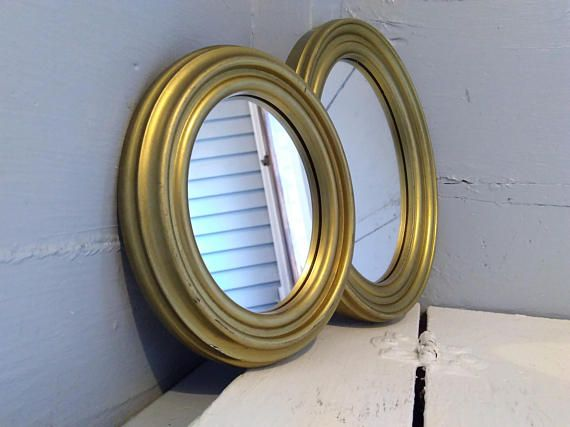 Vintage, Accent Mirrors, Wall Mirrors, Mirror, Oval, Pair, Brass Color, Mid Century Modern, RhymeswithDaughter