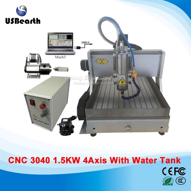 (1167.55$)  Watch here  - 1.5KW  4 axis CNC 3040 Router, assembled usb cnc engraving machine with water tank
