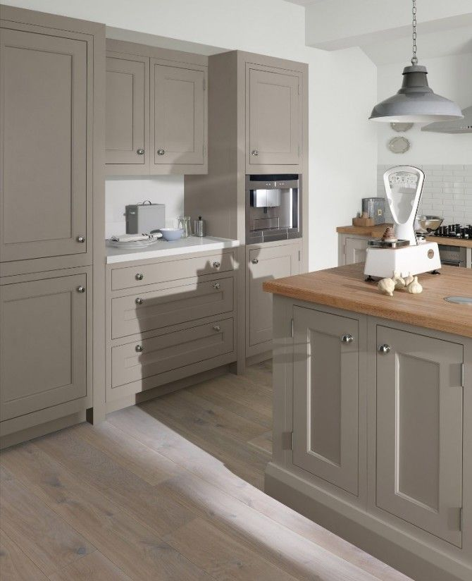Suede painted kitchen in a timeless in-frame shaker style.