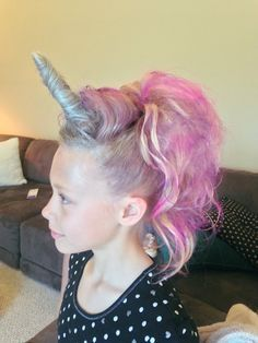 Unicorn or my little pony hair for crazy hair day.
