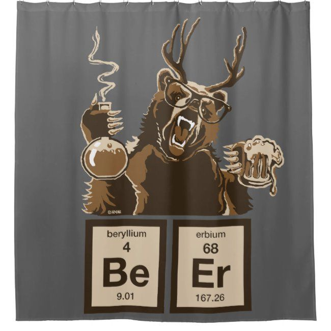 Chemistry Bear Discovered Beer Shower Curtain Zazzle Com With