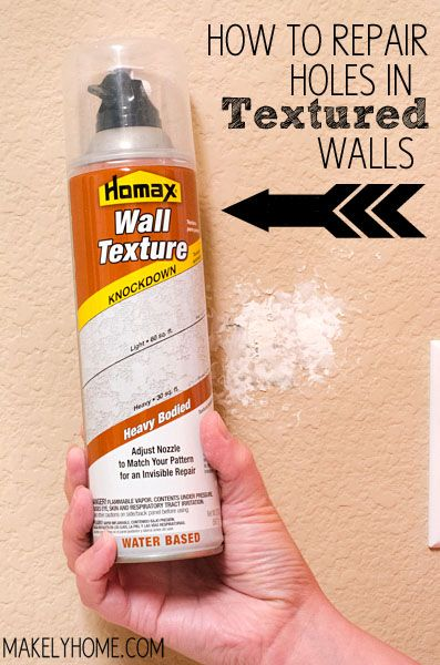 How to Repair Holes in Textured Drywall  (DAPtex Plus Foam Sealant DAPtex Plus Foam Sealant, Homax Wall Texture Spray)