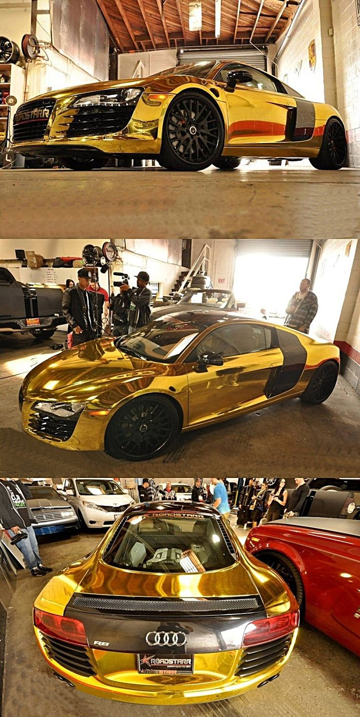 "Solid Gold Audi R8 I pin this because it take a perfectly beautiful car and takes it to ""oooh gross"" gold does not belong on a car. ( period)"