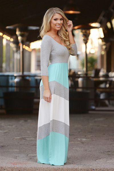 Best Wishes Color Block Maxi Dress - Mint from Closet Candy Boutique #fashion #ootd