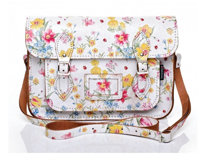 Сумка Zatchels White with Large Floral Pattern