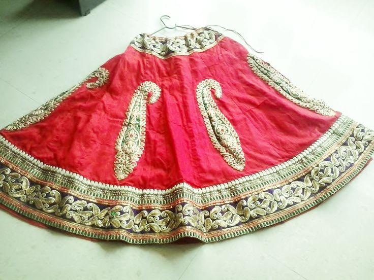 pure blood red rawsilk ghaghara