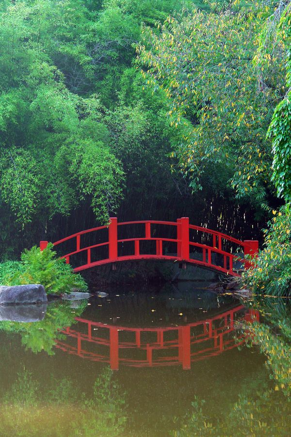 Bridge in the Japanese Gardens section of the Birmingham Botanical Gardens, Birmingham, Alabama