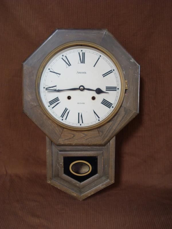 Vtg Ansonia 575 Regulator 31 Display Wall Clock w/ Chimes - Parts and Repairs Description: Item: For your buying consideration we are selling a Ansonia brand wall clock with 31 day display and chimes.