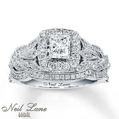 Neil Lane Bridal Set 1 1/4 ct tw Diamonds 14K White Gold  Similar to the other Neil Lane princess cut, but love the leaves details on this.