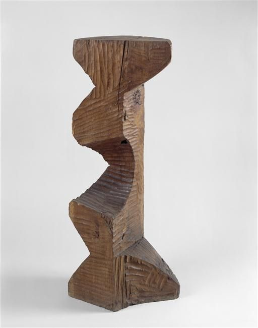Constantin Brancusi Pedestal Composed Of Two Base Elements Wood National Museum Modern Art Georges Pompidou Center Paris
