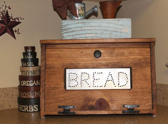 Rustic Bread Box Bin wooden Punched Tin Storage Primitive Cupboard counter top Country Kitchen handmade wood woodworking