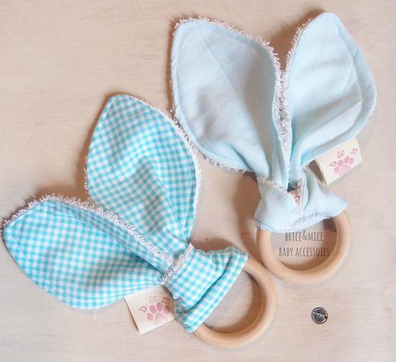 Set Anello di dentizione + salviette lavabili, Massaggiagengive orecchio di coniglio, Baby giocattolo, Salviette per Bebè Baby  riutilizzabili