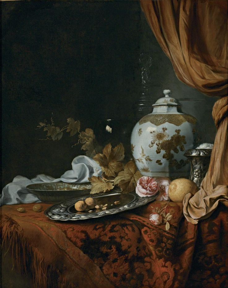 Attributed to Joseph de Bray (628/34-1664) — A Blue and White Faceted Vase, a Rose and Walnuts on a Pewter Plate, a Wan Li 'Kraak' Porcelain Bowl, a Silver Wine Cooler, a Wineglass, a Glass, a Lemon and Roses on a Table Draped with a Carpet (1583x2000)
