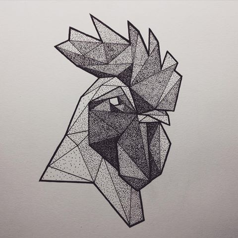 Dotwork geometric rooster head tattoo design - Tattooimages.biz