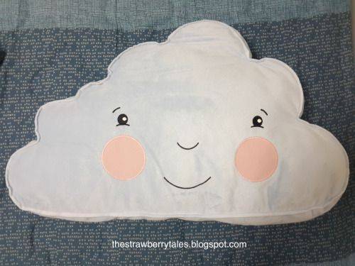 IKEA cloud shaped pillow with blushing face