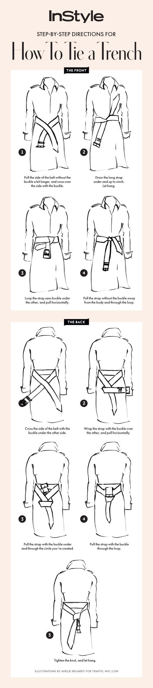Follow our step-by-step guide for how to tie your trench coat two ways