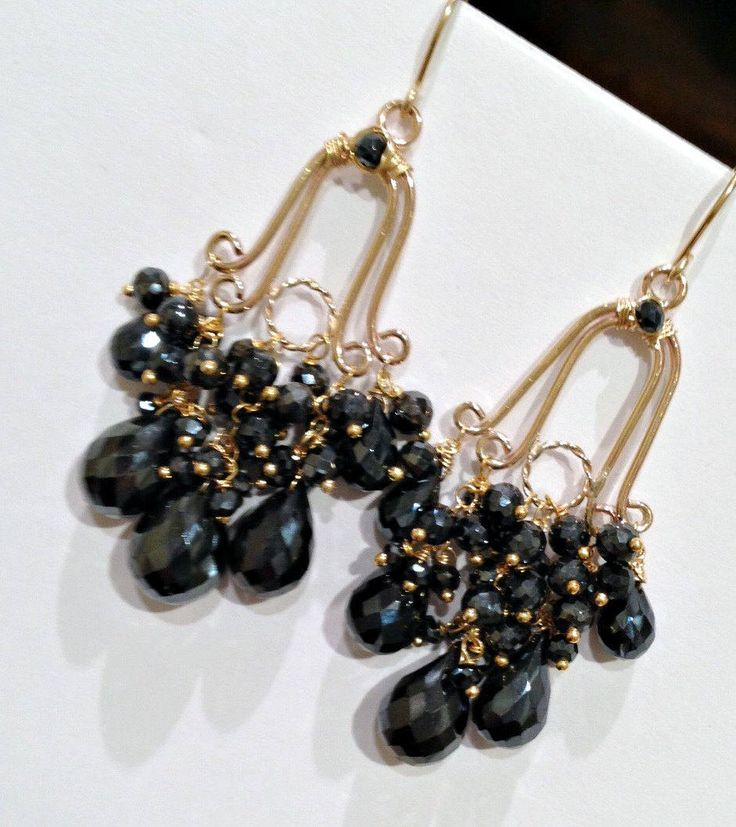 Excited to share the latest addition to my #etsy shop: Chandelier Earrings Black Chandelier Earrings Gemstone Chandelier Earrings Black Gem Wire Wrap 14kt Gold Fill Handmade Chandelier Earrings