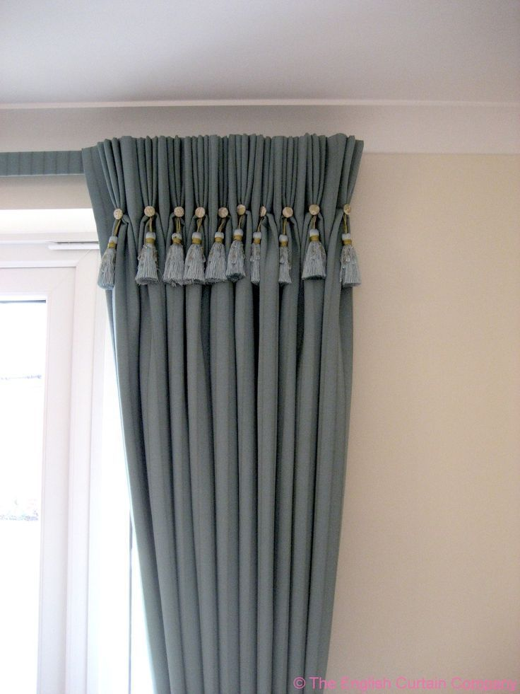 Grey Triple Pleat Curtains With Buttons And Key Tassel Detail Hung On A Covered Lathe Track Pleated Curtains Home Curtains Curtain Decor