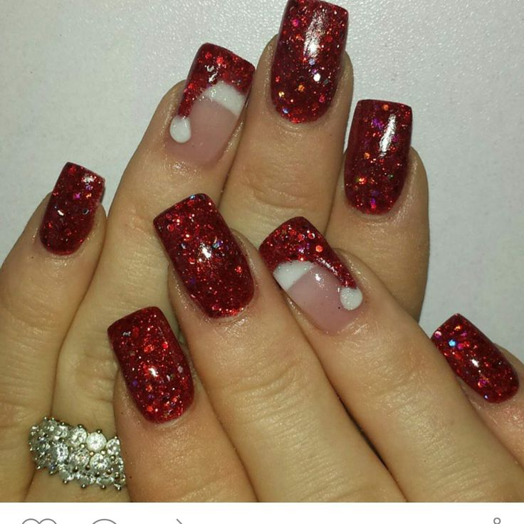 Start with a French manicure on the ring fingers. Then do the red glitter on the rest. On the ring fingers, do the red glitter drip shape as in photo. Add a drop of white. Cute! Via fb