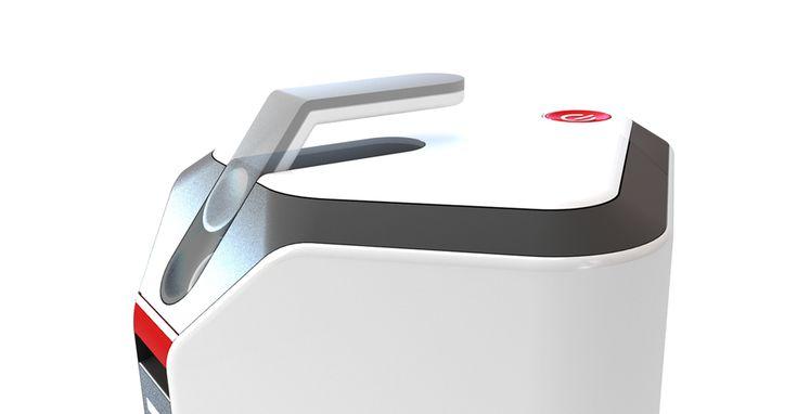 Gli angoli rimasti liberi serviranno per riporre l'accessoristica (tubi rigidi e spazzole) e la componentistica (schede elettroniche, avvolgicavo). La pianta quadrata del prodotto quando viene trainata dal tubo di aspirazione, ruota fino a disporsi con un orientamento a rombo, una geometria che funziona come una sorta di cuneo, con pareti inclinate di 45° rispetto agli ostacoli che si troverà ad incontrare e che, in virtù di tale forma, sarà più facile superare.