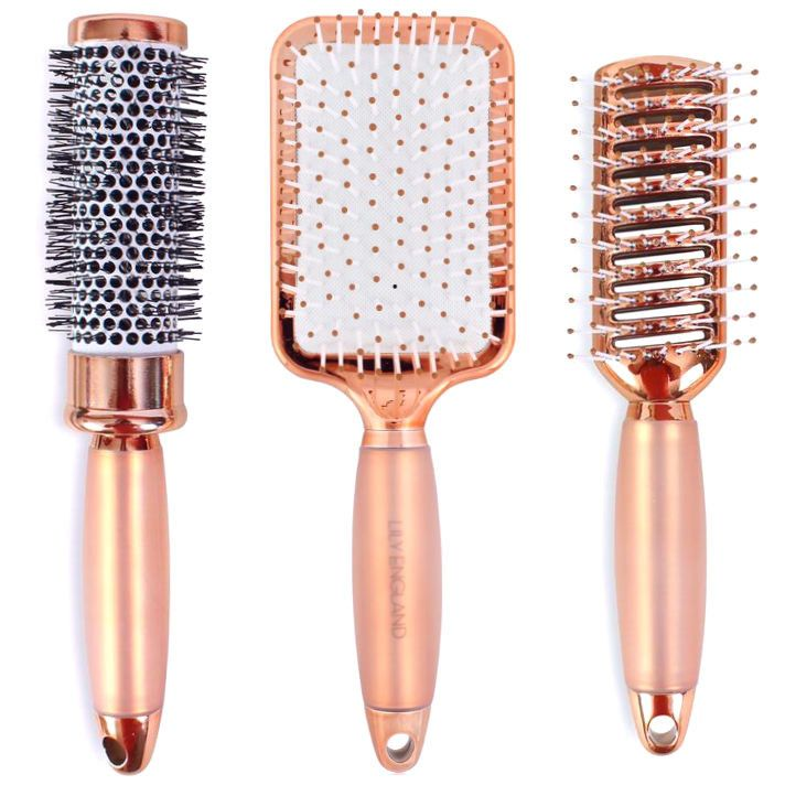 Lily England Luxury Rose Gold Hair Brush Set - Gift Set