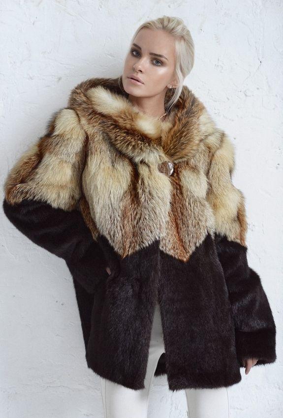 Куртка из сурка и лисы с рисунком «зигзаг» купить в Нижнем Новгороде | Фабрика «Меховая радуга»