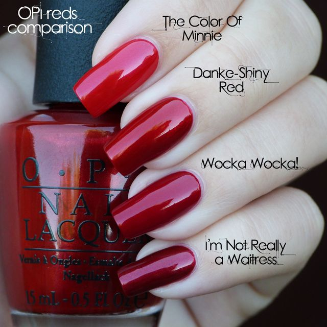 OPI Reds :: The Color of Minnie, Danke Shiny Red, Wocka Wocka!, I'm Not Really a Waitress   #lucysstash