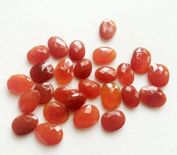 5 Pcs Carnelian Orange Chalcedony Rose Cut Orange by gemsforjewels