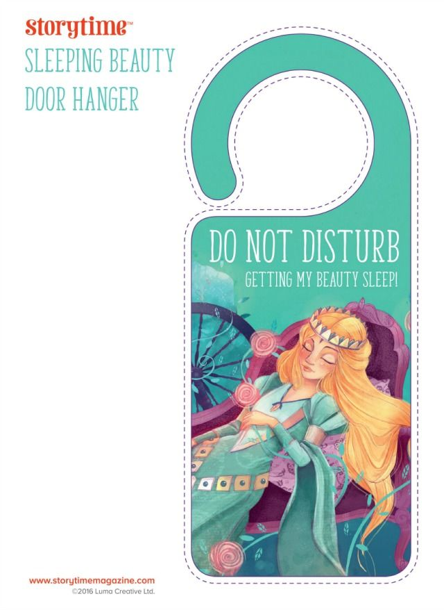 Print out free Storytime Issue 20 Sleeping Beauty Doorhanger! http://www.kiddycharts.com/printables/free-sleeping-beauty-fairy-tale-printables-from-storytime/