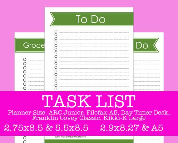 Task List Refill  Primary Forest  ARC Filofax Day by OnTaskOnTime
