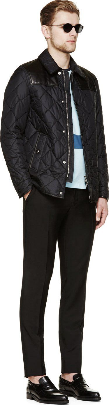 Burberry London Navy Leather & Nylon Quilted Jacket
