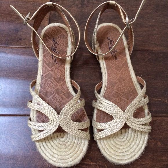 Lucky brand gold flat sandals Cute flat sandals in gold. Worn once and in great condition! Lucky Brand Shoes Sandals