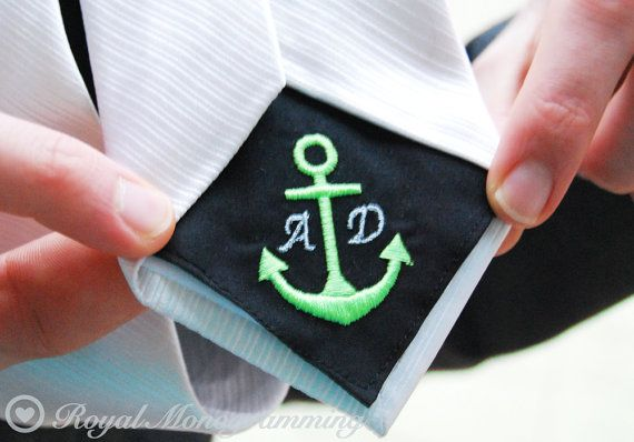 Anchor Wedding Tie Patch Monogrammed for Groom or Groomsmen or Family by RoyalMonogramming