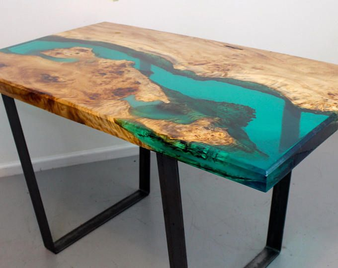 Turquoise Resin River Dining Table Wood Resin Table Resin