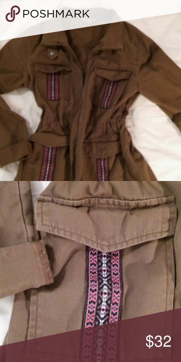 Nordstrom Olive army style jacket A cinch-able waist and boho embroidered details give this classic army jacket a feminine twist. Rubbish Jackets & Coats Utility Jackets
