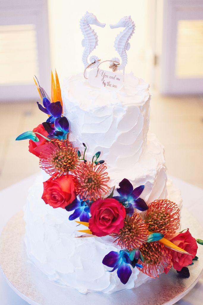 Little mermaid themed wedding cake