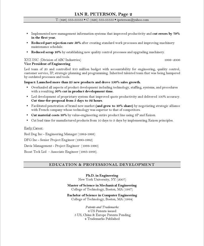 free resume samples it project manager page2 chief technology officer page2 - Chief Project Engineer Sample Resume