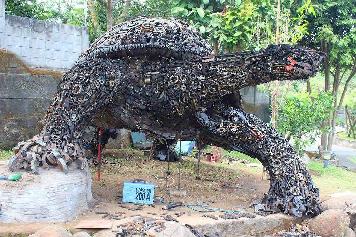 geweldig! schildpad gemaakt van oud ijzer Ono Gaf