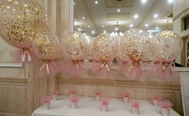 Pink and gold theme christening with our signature confetti and tulle balloons  #christeningballoons #melbourneevents #tulleballoons