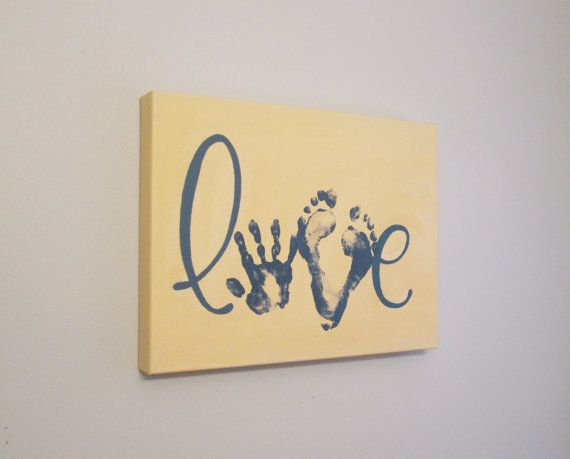 "Love Handprint and Footprint Canvas Art, Solid Color, Any Color, 12x16"" by SnowFlowerArts"