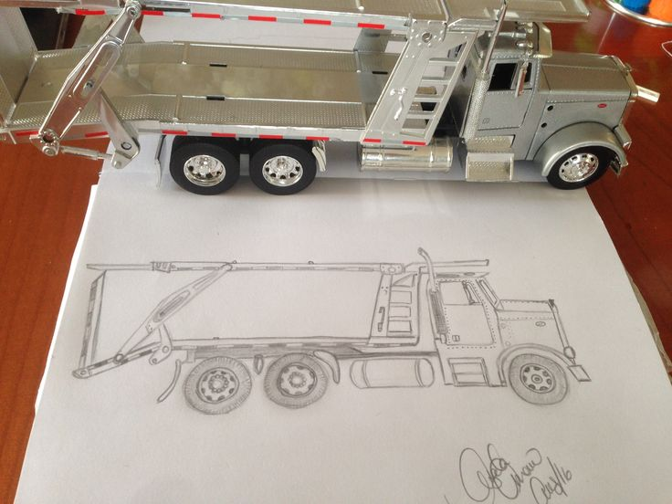 Transport truck pencil drawing.  Armando wanted me to draw it for him, only flaw was I made the front end too short, but still cool 😊