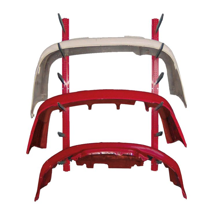Wall-mounted Bumper Cover Rack : Width (inches):48 / Height (inches):72 / Depth (inches):23 / Net weight (lb.):52.41 / The supports are easily reconfigured or removed when they are not needed, without tools. / 300 lb capacity (wall and wall anchoring must be strong enough).