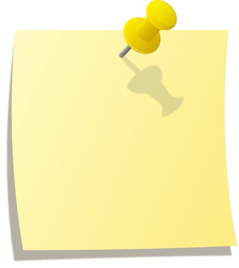 Yellow sticky note pinned to wall with yellow thumb tack ...