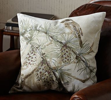 Snow Pine Bird Pillow Cover Potterybarn Bird Pillow