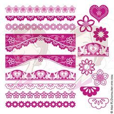 Border Clipart Fuschia Pink Mexican Clipart Flowers Dove Bird Heart Design Elements Instant Download Page Decoration DIY Invitations 10647