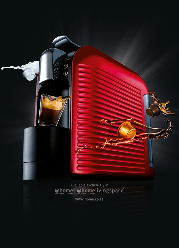 Espresto Wave (Red) coffee machine. Available in all @home and @homelivingspace stores. www.home.co.za