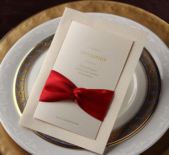 50 piezas Vintage boda invitación con cinta roja por WishmadeCards