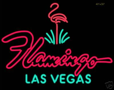 #CasinoSigns I like this sign because of the color options and also because of the font used for flamingo. I like the contrast of retro hand-drawn type with standard type.